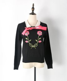 Wholesale Ribbon Embroidery Stitches - Runway Sweater Women Luxury Rhinestones Sequins Flower Bow Knit Pullovers 2017 Winter Jumper blusas de inverno feminina