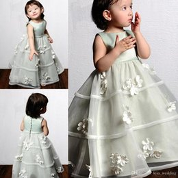 Wholesale Toddler 3d Flower Dress - Cute Floor Length Flower Girl Dresses Organza A Line Toddler Pageant Dress Kids Birthday First Communion Gowns With 3D Floral Appliques