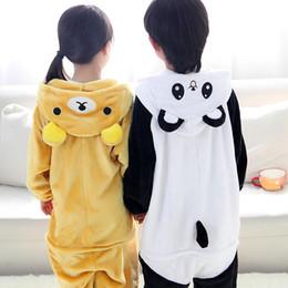 Wholesale Kids Bear Costumes - Free DHL Children Unisex Pajamas Kids Animal Costume Cosplay Sleeping Wear Bear Panda Style Flannel Novelty Loungewear Gift K97E