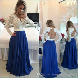 Wholesale Evening Party Dressess - Modest White and Blue Evening Dresses Lace Long Sleeves Sexy Backless V Neck Line Plus Size Prom Dressess Party Gown Beaded