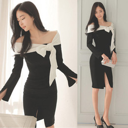 Wholesale Dress Cheap Night Long - korean women's dress split bowknot long sleeve dress black slash neck dress celebrity dresses for cheap