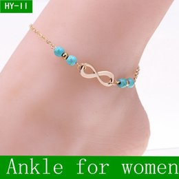 Wholesale Wholesale Anklets - 2016 New Ankle Bells Summer Style Turquoise Beads Chain Foot Double Zipper Anklet 925 Women Silver Bracelet On A Leg Diamond Jewelry