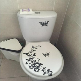 Wholesale Decorative Wall Decals Butterfly - Decorative Butterfly Flower vine bathroom vinyl wall stickers home decoration wall decals for toil