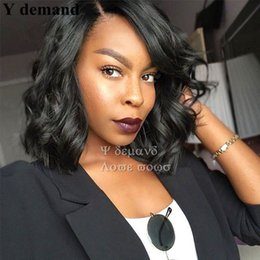 Wholesale Glueless Full Lace Wig Synthetic - Fashion Natural Full Black Wavy Short Bob Wigs Glueless Synthetic Hair None Lace Wig For Black Women In Stock Y demand