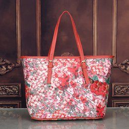 Wholesale Female Business Casual - flower Blooms women tote bag Geranium printing shopper bag luxury brand pu leather handbags female business laptop bags famous brand