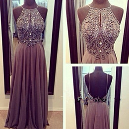 Wholesale Spagetti Evening Dress - Elegant Gray Beaded Prom Dress Long Crystal Spagetti Strap Backless Chiffon Prom Dresses 2016 Blue Pearl Dresses Ombre Evening Gowns Online