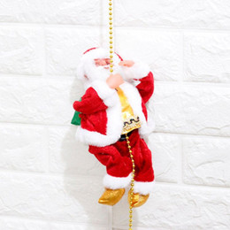 Wholesale Doll Crawls - Wholesale- 2017 New Style Electric Santa Claus Decorations Will Crawl The String Creative Plush Santa Claus Dolls for Kids Christmas Gifts