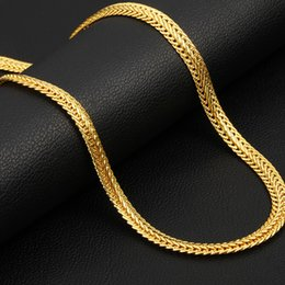 Wholesale Chain Choker Men - Brand Men Necklace Fashion Rapper Jewelry Rose Gold Black Gold Color 6MM Unique Choker Long Classic Foxtail Chain