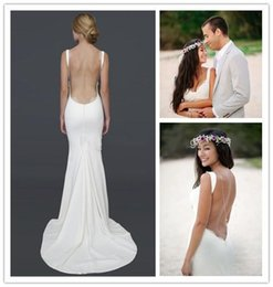 Wholesale Backless Lacy Dresses - Sexy Robe De Mariage Backless Beach Bridal Dresses 2016 Spaghetti Straps Draped Neckline Lacy Open Back Wedding Dresses Summer Wedding Gowns