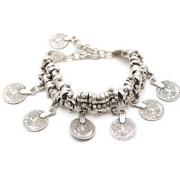 Wholesale Wholesale Thick Silver Chains - Thick Bohemian Moon Child Turkish Silver Antalya Coin Anklet Bracelet Moon Lovers