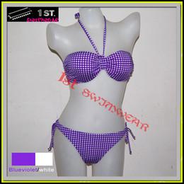 Wholesale Bandeau Womens Swimwear - New Womens Bikini Bathsuit Lingerie Swimwear bandeau Plaid pattern Checked size S M L XL wholesale Green Purple Black 3 colors