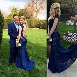 Wholesale Ladies Chiffon Style Dresses - darkBlue Mermaid Prom Dresses Backless Deep V-neck 2016 Evening Party Gowns Open Back Style Lace Special Occasion Party Dress Country Ladies