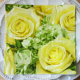 Wholesale Cream Napkins - Wholesale- 2 x Decoupage Paper Napkins-Paper + Design 33*33 cm 3-ply DREAM OF CREAM ROSES decorative paper napkin yellow napkins-20844
