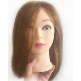 Wholesale Practice Head Human Hair - 16 inches 100% human hair Practice Hairdressing Training Head Mannequin training head human hair training head