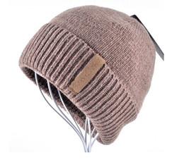 Wholesale Men Head Warmer - Hot men winter beanie hats for men knitted wool hats male Brand warm cap men beanies skullies bone peas set of head cap gorro black grey red