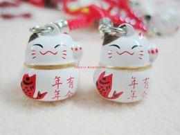 Wholesale Maneki Neko Charms - New 60 Pcs White Fish Maneki Neko Lucky Cat Japanese Charm Bell Mobile Cell Phone Starp