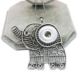 Wholesale White Elephant Charms - Hot Sale High Quality 010 Elephant Snap Button Pendant Necklace Fit 18mm Buttons For Women Charm Fashion Interchangeable jewelry