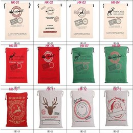 Wholesale Christmas Decoration Wholesalers Usa - Stock in USA 2017 Christmas Large Canvas Monogrammable Santa Claus Drawstring Bag With Reindeers Monogramable Christmas Gifts Sack Bags