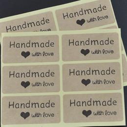 Le etichette di fabbrica dirette online-Fabbrica diretta 4 * 2cm Kraft etichette Etichette fatte a mano amore adesivi kraft etichette adesive fai da te fatto a mano sigillo etichette adesive per regalo