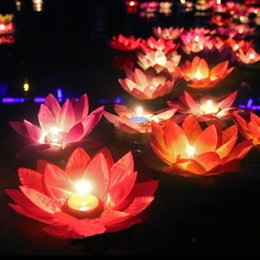 Wholesale Wishing Lamps - 10pcs Multicolor Silk Lotus Lantern Light With Candle Floating Pool Decorations Wishing Lamp Birthday Wedding Party Decoration