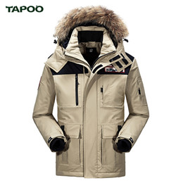 Wholesale goose down hats - Wholesale- TAPOO Men's Thick Down Jacket White Goose Down High Quality Warm Windbreak Hooded Outwear Coat MWM1629