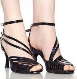 Wholesale Salsa Dance High Heels Shoes - 2017 Spot wholesale popular Gray black PU women's Latin dance shoes High heels 8.5cm Salsa Party Square dance dress shoes