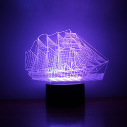 Wholesale Night Vision Lamp - Sailing Ship Shape 3D Light Mordern 3D Stereo Vision Lamp Meditation Of Acrylic USB Night Table Lights Gift 28rm B