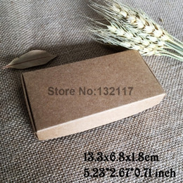 Wholesale Jewellry Gift Boxes Wholesale - 300pcs lot 13.3*6.8*1.8cm Natural Brown Carton Kraft Box Wedding Gift Candy Boxes Soap Packaging Jewellry Packing Box Phone Case