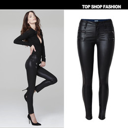 Wholesale American Apparel Leather - 2016 Imitation Leather Low Waist Jeans Women Black Double Zipper Skinny Jeans Femme American Apparel PU Plus Size Jeans
