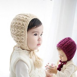 Wholesale Knit Hats For Infant Girls - Newborn Baby Handmade Crochet Knitting Hat Kids Infant Beanie Baby girls Woolly EarFlap Hat 2 colors for 6-30 months baby