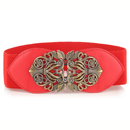 Wholesale Elastic Wide Waistband - Retro Bohemia Style Wide Elastic Stretch Waist Belt High Quality Wide Waist Cinch Belt Dress Waistband for women