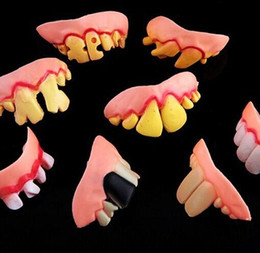 Wholesale Funny Props - 200PCS Joke Teeth False Teeth Rotten April Fool's Day Funny Fake Teeth Dentures Halloween Prop Costume Fancy Dress Party YH119