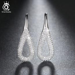Wholesale Hoop Earrings For Girls - Platinum Plated Water Drop Silver Earrings with Shiny 3A CZ Diamond for Women Girl in Fashion Drop Earring OE146