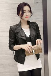 Wholesale Ladies Pu Jackets - 2016 European and American motorcycle leather female short paragraph Slim leather jacket PU leather ladies jacket tide