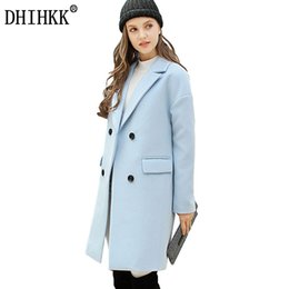 Wholesale ladies winter blazers - DHIHKK Women Autumn Winter Wool Coat Blazers Thick Long Wool Blends Soft Solid Outwear Business Office Lady Coats Jackets 358RX