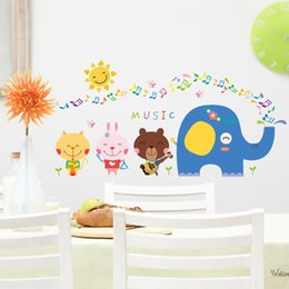 Wholesale Decal Elephant - 45*60cm Wall Stickers DIY Art Decal Removeable Wallpaper Mural Sticker for Kids Bedroom Bathroom Living Room XH6207 Music Elephant