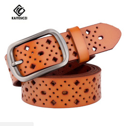 Wholesale Brand New Ladies Jeans - Wholesale- KAITESICZI Ms. leather belt hollow printing belt 100% pure leather lady brand quality new personality jeans belt