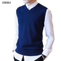 Wholesale Men S Pullover Sweater Vests - Wholesale- Sweater Men 100% Cotton Solid V Neck Casual Male Sweater Vest Men Pullover Knitted Sleeveless Men Sweater Christmas M-3XL