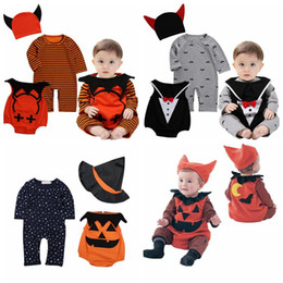 Wholesale Baby Boys Overalls - halloween baby clothes devil vampire pumpkin hat rompers vest 3pcs sets newborn boy jumpsuits toddler girls boys overalls infant baby suit
