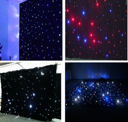 Wholesale Wedding Backdrops Blue - 3M*6M LED Wedding Party Curtain LED Star Cloth Black Stage Backdrop LED Star Cloth Curtain Light Wedding LED Effects DMX512 Stage Lighting