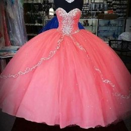 Wholesale Sexy Dresses For New Years - History Coral Quinceanera Dresses 2016 New Unique Cheap Quinceanera Gowns Ruffles Layers Tulle Sweetheart For 15 Years Party Ball Gowns