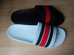 Wholesale Summer Black Sandal - 2016 hotsale mens black red green striped sandals mens outdoor beach sandals male fashion causal sandals