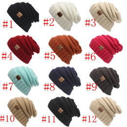 Wholesale Elegant Men Hat - Unisex CC Beanies Elegant Knitted Hats Cap Beanies Autumn Winter Casual Cap Women Men Christmas Warm Hats 12 Color PPA454