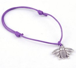 Wholesale Bee Resin - Hot Sell ! 50 pcs Antique Silver Zinc Alloy Bee Charms Wax rope Adjustable Bracelets