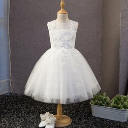 Wholesale Sleeveless Lace Shirts For Kids - 2018 New 3D-Floral Appliques Flower Girls Dresses For Weddings Cheap Sheer Jewel Crystals White Lace Tulle Kids First Communion Ball Gown
