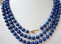 "Wholesale Egyptian Lazuli Lapis - 8mm Egyptian Lapis Lazuli Dark Blue Round Bead Gemstones necklace50""AAA"
