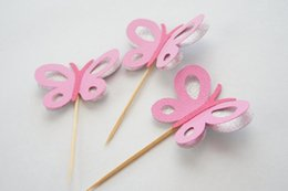 Wholesale Cheap Butterfly Cake Toppers - cheap 3D pink and silver butterfly cardstock cupcake toppers insert card food picks wedding baby bridal shower Cake Accessories decorations