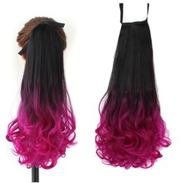 Wholesale Drawstring Ponytails Extension - Ombre hair ponytails synthetic Drawstring Ribbon Ponytail pieces Culry wavy 20inch 120g synthetic hair extensions women fashion