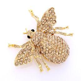 Wholesale Amber Brooch Gold - Bee rhinestone Brooch, Crystal Gold Amber Bee Broach ,Bumblebee Brooches ,DIY Jewelry Embellishment