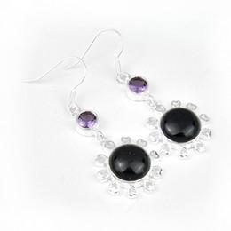 Wholesale Black Lady Earrings - Free Shipping 925 sterling silver shine earrings for lady earrings Luckyshine new style E0602